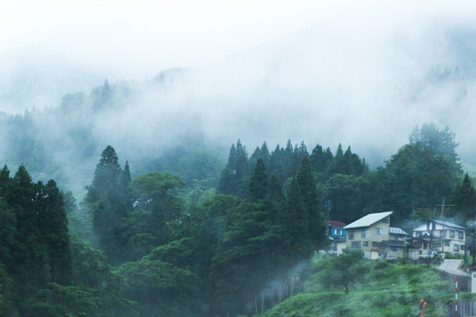 fog on mountains in japan