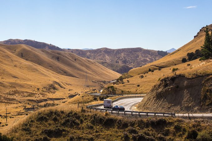 New Zealand golden hills and road