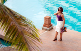 Woman at Sheraton Resort Guam pool