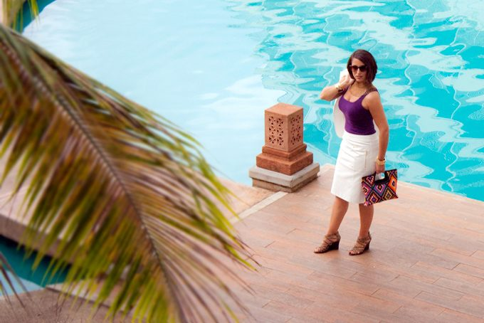 Woman at Sheraton Resort Guam pool