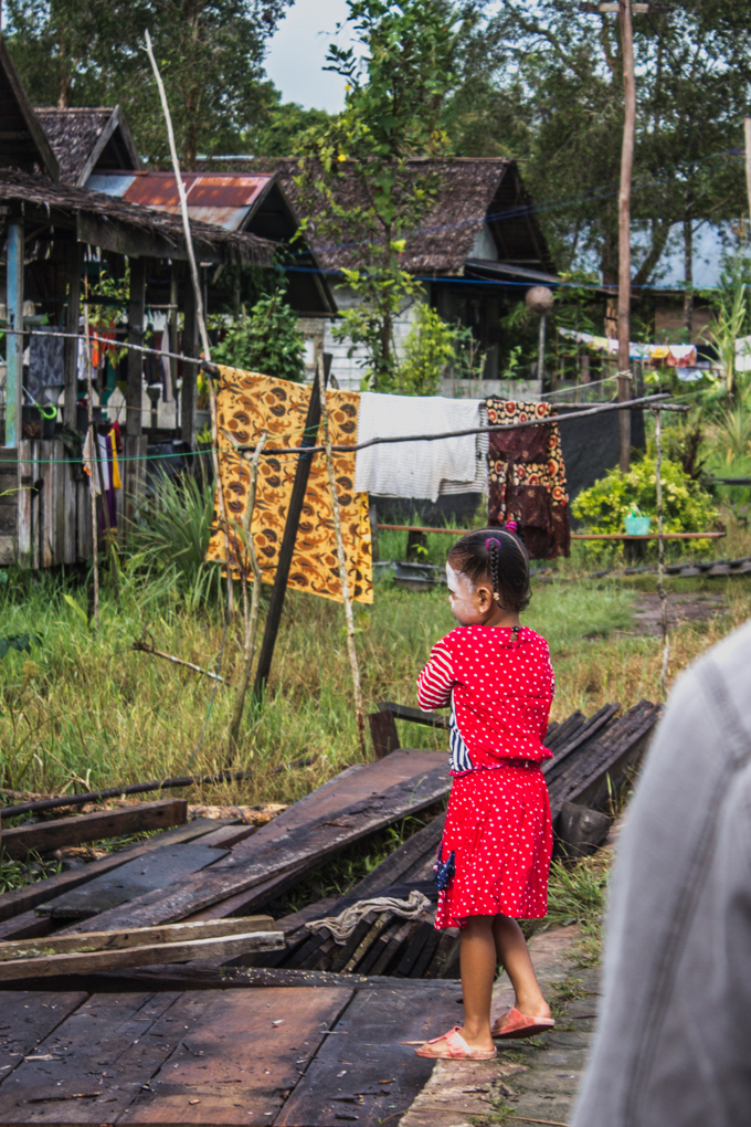 girl in village in Borneo