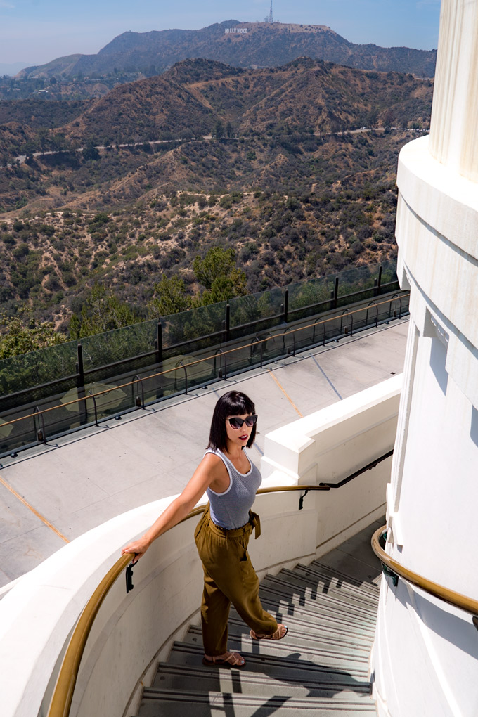 Girl on steps of Griffith Observatory, Los Angeles, California