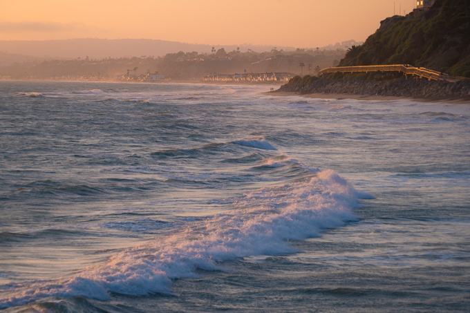 Dusk on the ocean at San Clemente, California