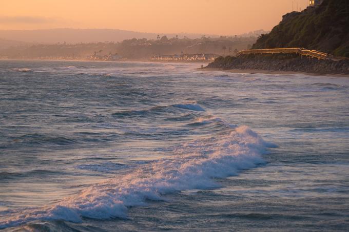 Dusk on the ocean at San Clemente, California