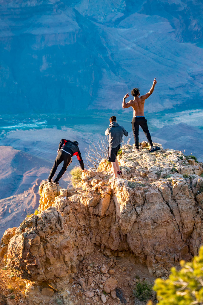 Climbers at Watchtower at Grand Canyon, Arizona