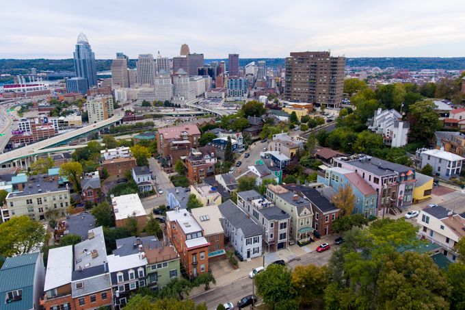 Aerial drone photograph of Mt. Adams, Cincinnati, Ohio