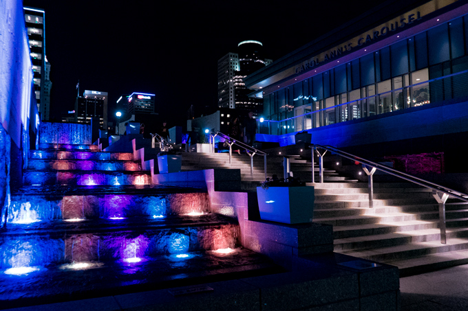 Night view of Smale Park fountains in Cincinnati, Ohio
