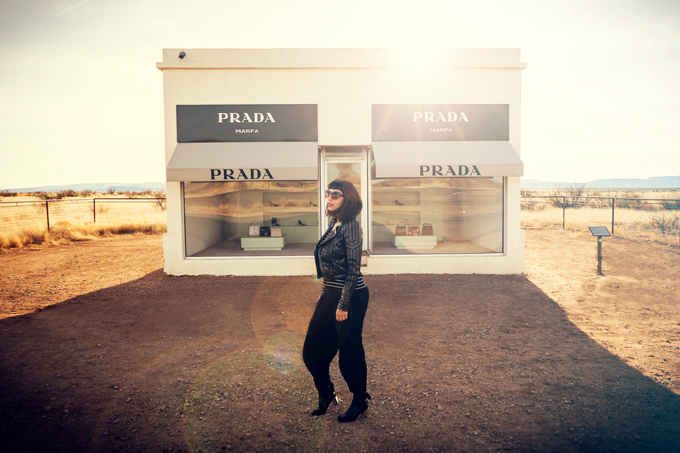 Jessica Peterson of Global Girl Travels at Prada Marfa, Texas