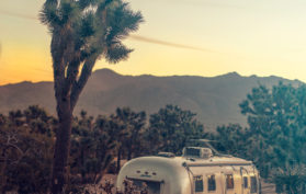Airstream at Joshua Tree National Forest Park in California