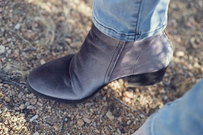 Anthropologie velvet booties worn by Jessica Peterson of Global Girl Travel at Joshua Tree National Forest Park in California