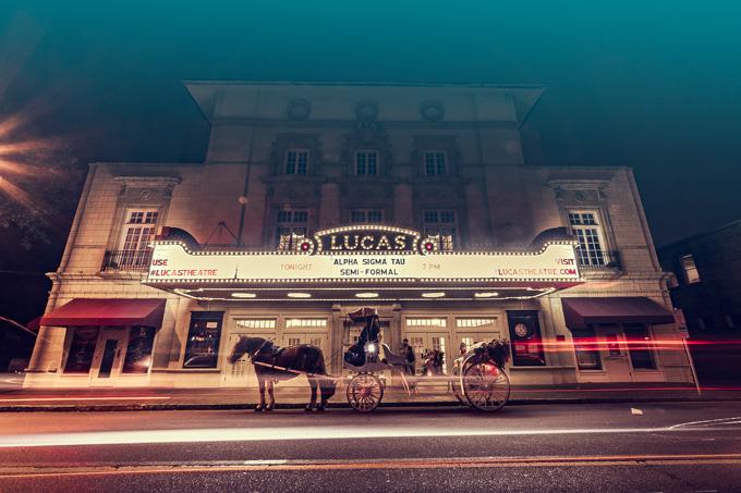 Savannah, Georgia Lucas theatre at night