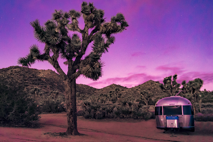 Global Girl Travels Airstream Trailer at Joshua Tree National Forest Park, California during sunrise