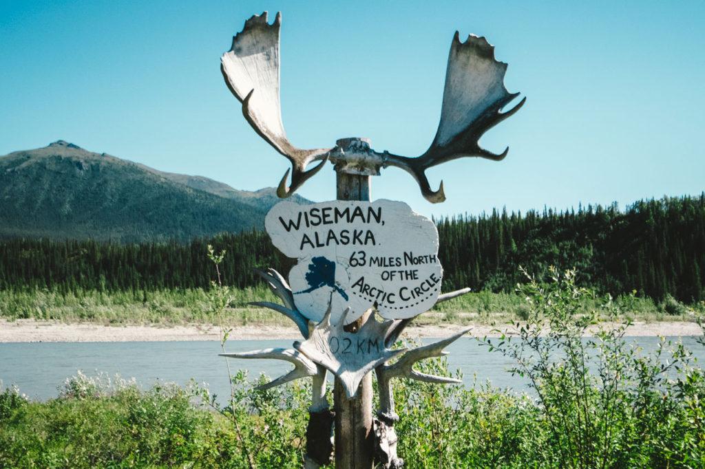 Wiseman, Alaska sign