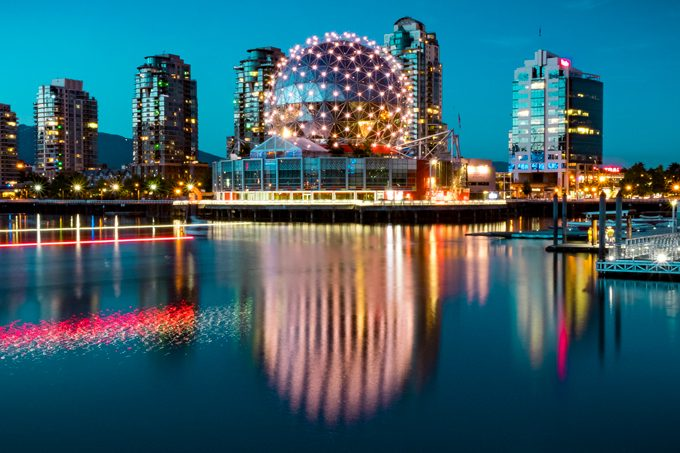 Science World, Vancouver, Canada night long-exposure