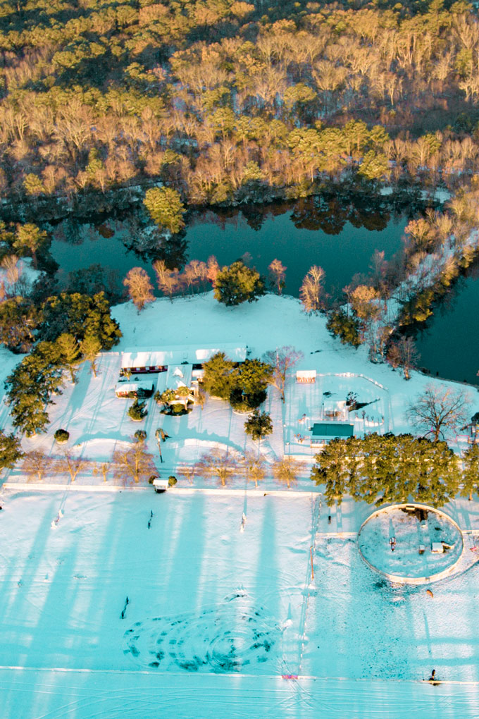 Aerial view of snow at Red Gate Farms, Savannah, Georgia