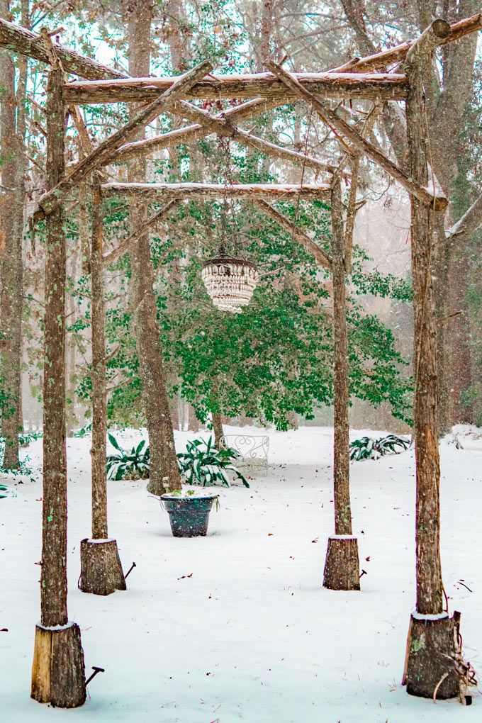 Snow at Mackey House and Red Gate Farms, Savannah, Georgia