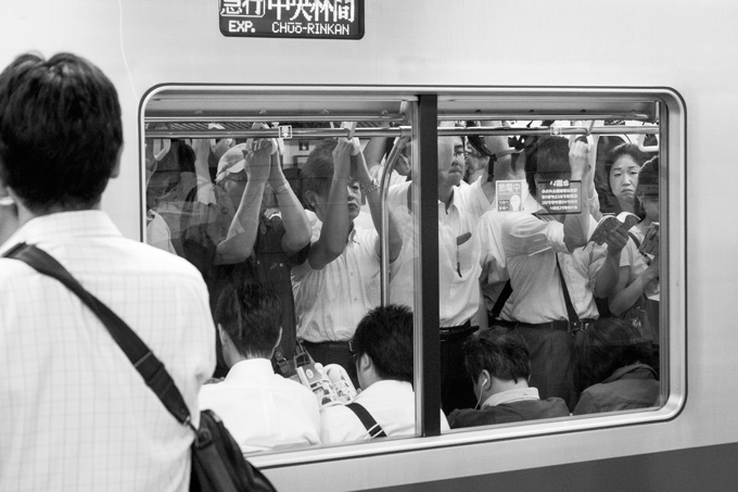 Crowded metro train in Tokyo, Japan