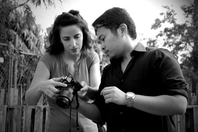 "Jessica Peterson and Justin Baldovino on the set of ""American Soil, Chamorro Soul"""