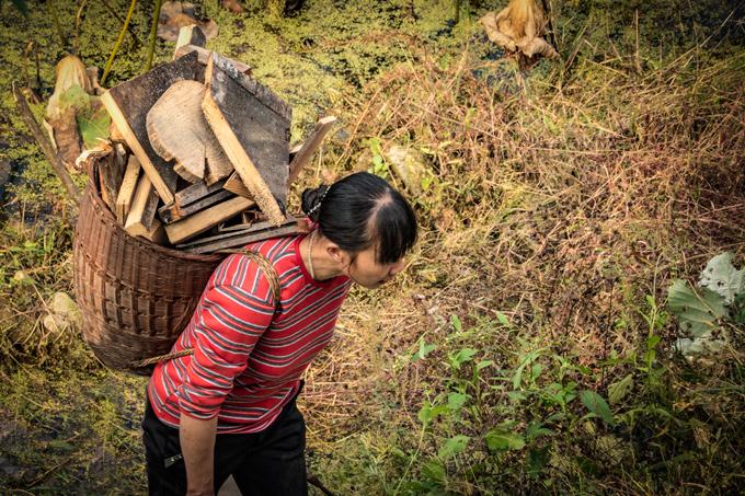 Woman carrying wood in Yangjiajie, China