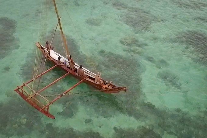 """The crew of Ulitao sail Tumon Bay in """"American Soil, Chamorro Soul"""", a documentary film about the people of Guam"""
