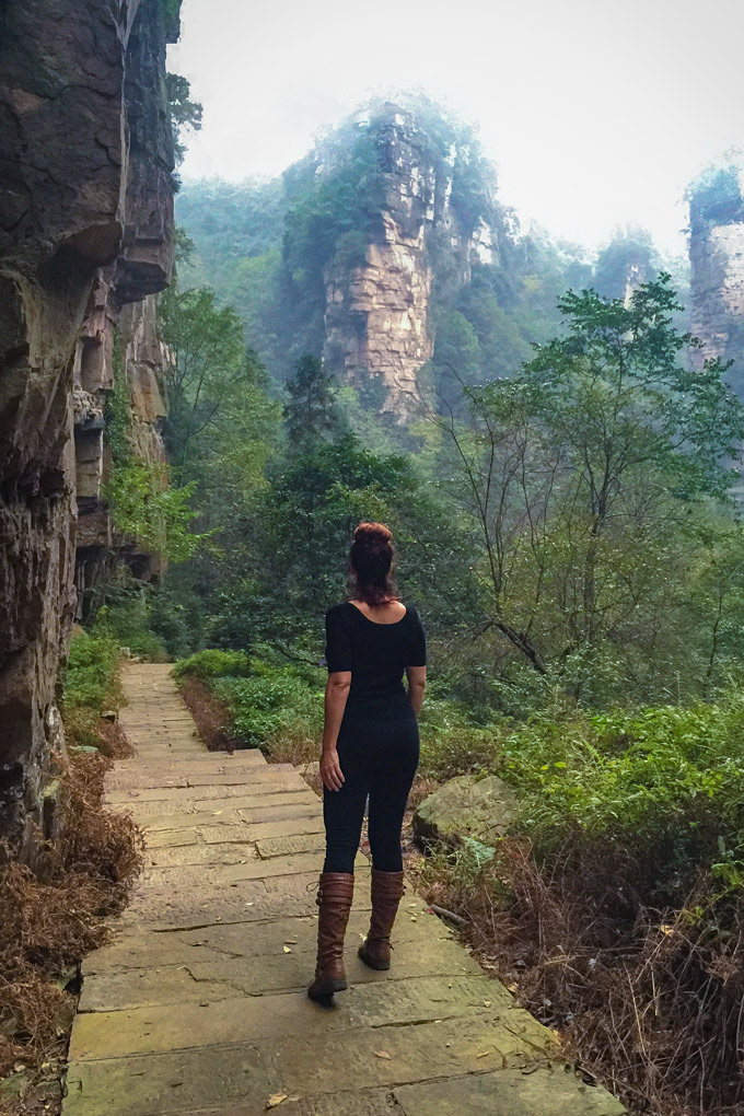 Jessica Peterson in Zhangjiajie National Forest Park, China