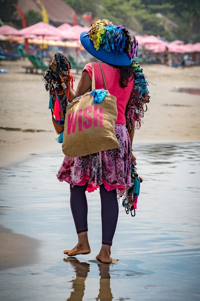 Balinese hawker on Seminyak beach