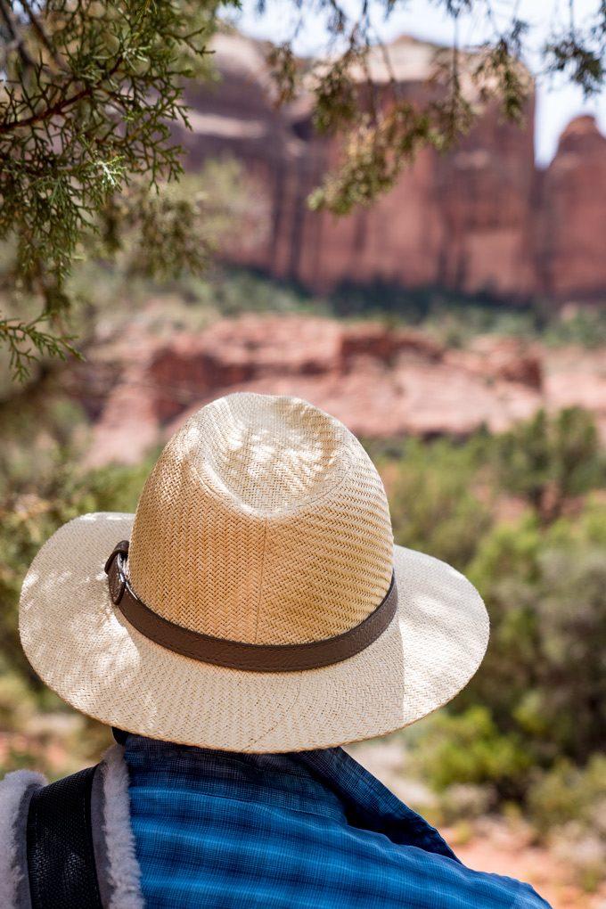 Man with hat at Red Rocks of Sedona, Arizona