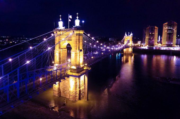 Night view of Roebling Bridge in Cincinnati, Ohio