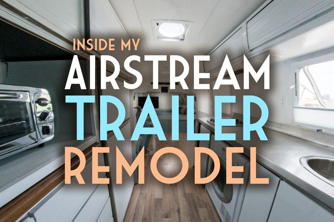 Inside an Airstream trailer remodel before and after pics photos
