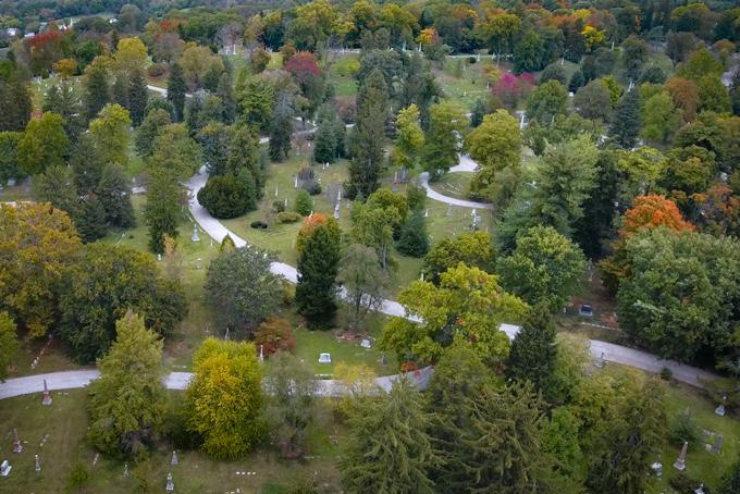Aerial drone view of Spring Grove Cemetary in Cincinnati, Ohio