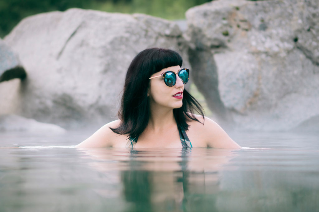 Jessica Peterson of Global Girl Travels in Chena Hot Springs, Alaska