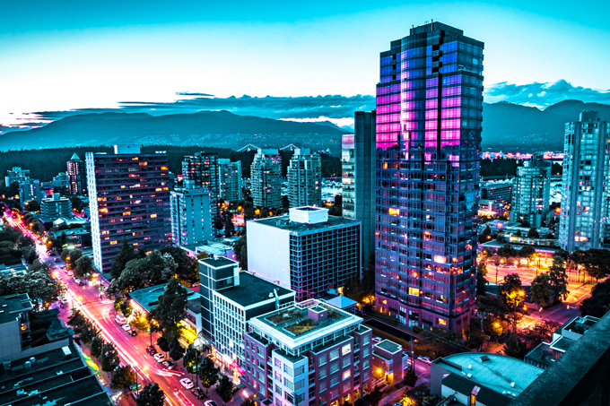 Vancouver, Canada night long-exposure