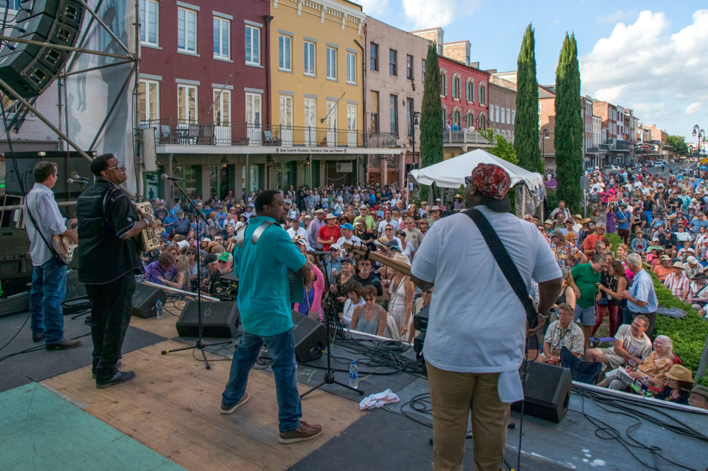 French Quarter Festival, musicians on stage, New Orleans, Louisiana