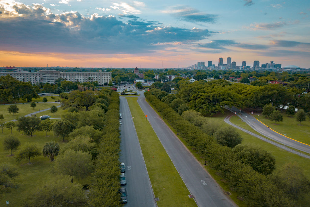 City Park, New Orleans Louisiana aerial view